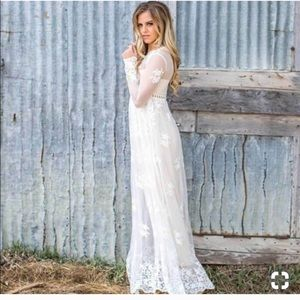 Dresses & Skirts - White Lace long dress/Long sleeve